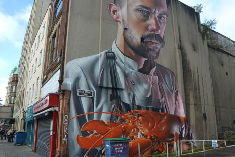 Chef With Lobster Street Art Belfast