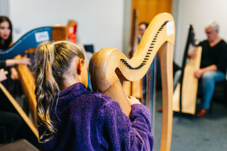 Girl In Purple Fleece Playing A Harp
