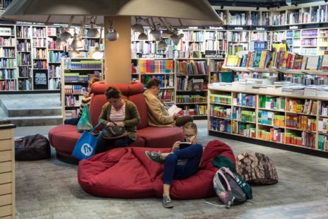 Readers On Bean Bags In Library