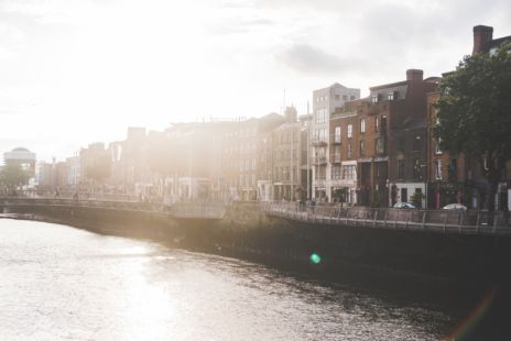 Sunlit View Of Dublin City Quays