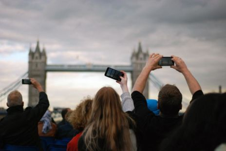 Tourists Taking Photos Of London Bridge