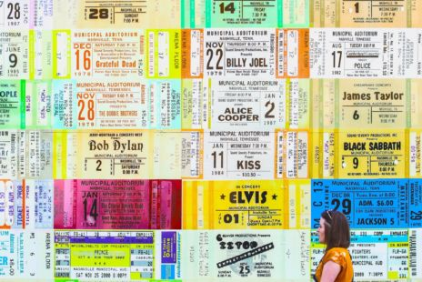 Wall Installation Of Colourful Concert Tickets