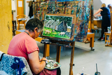 Woman Painting In An Art Class At The Crescent