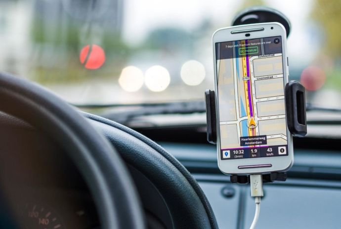 Gps Or Sat Nav On Car Dashboard