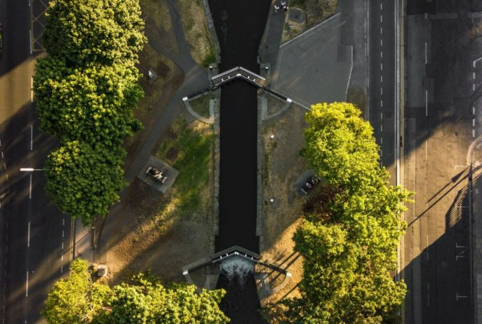 Aerial View Of Irish Streets With Cars Canal And Trees