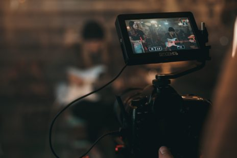 Camera filming music performance
