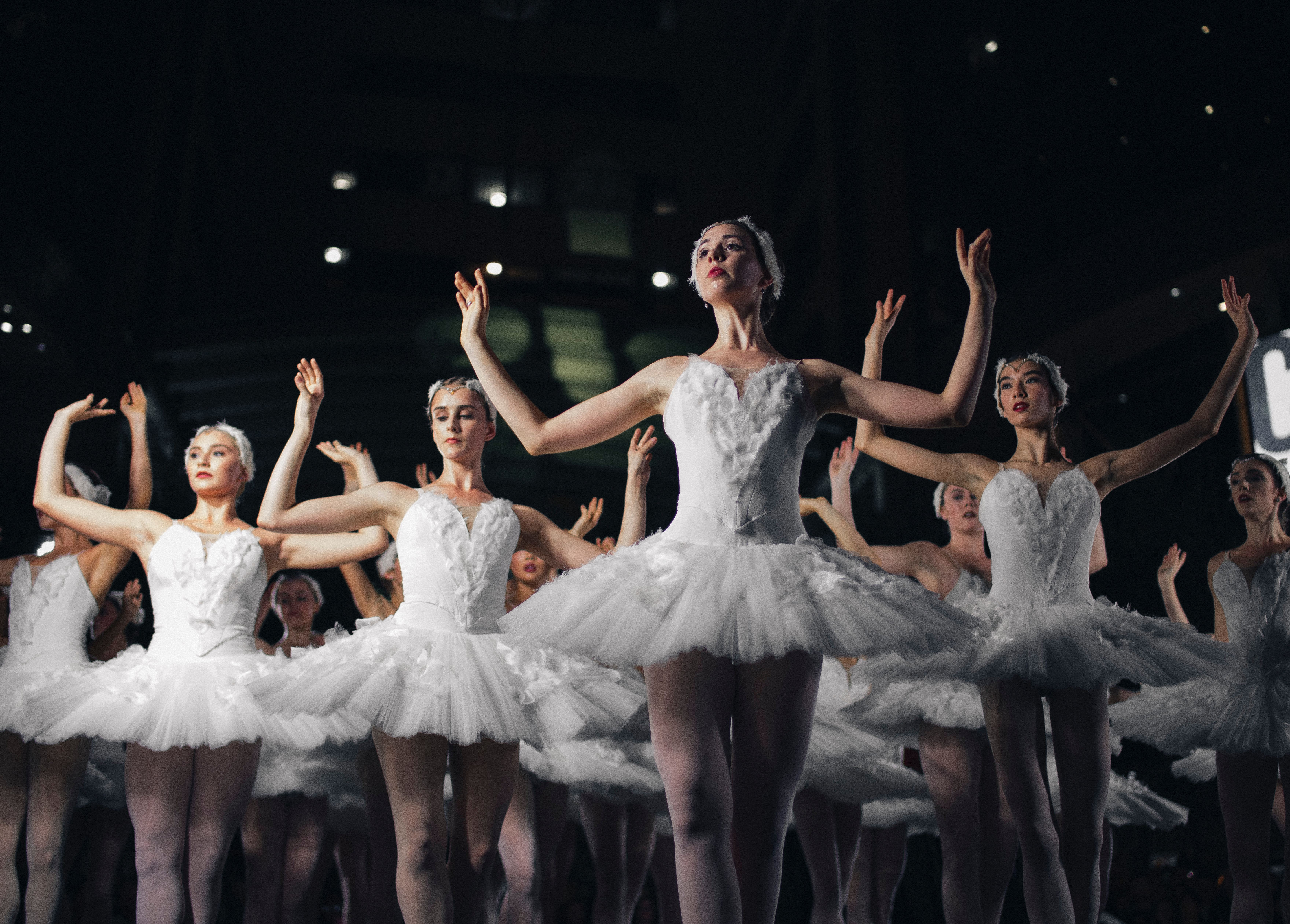 Ballet dancers in white costumes