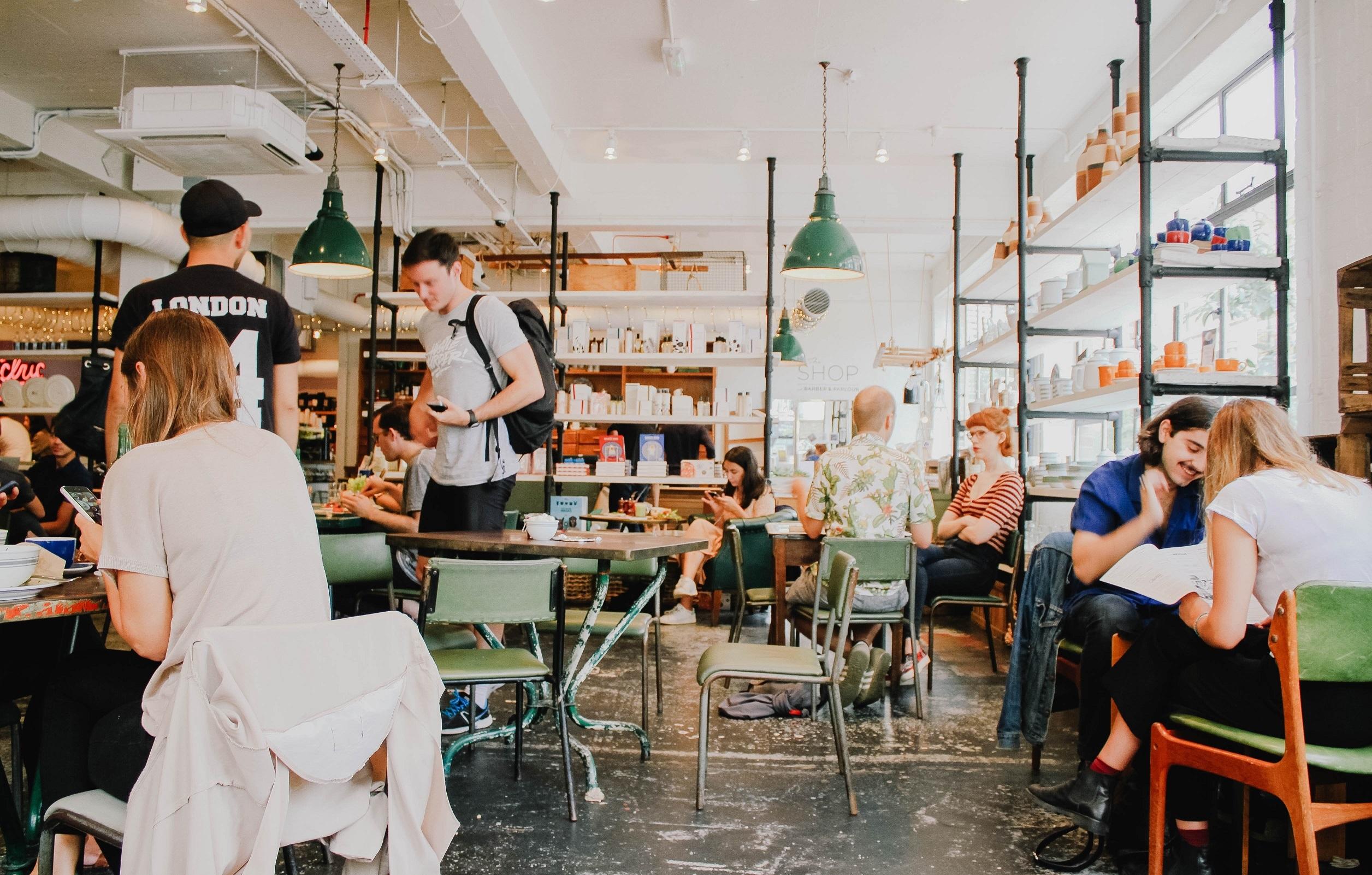 Busy café with modern interior design