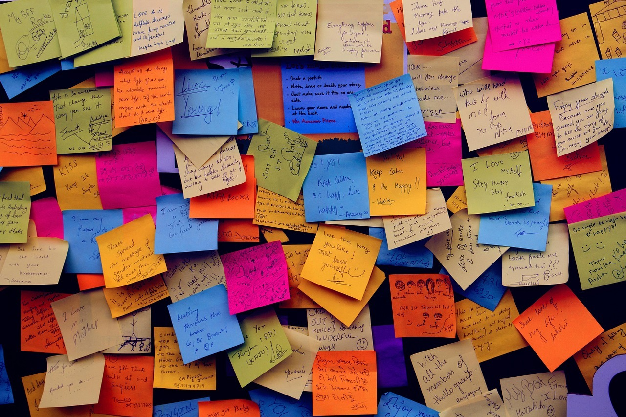 A collage of post it notes.