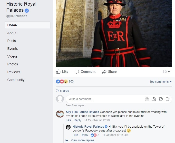 Historic Royal Palaces responding to a fan on Facebook