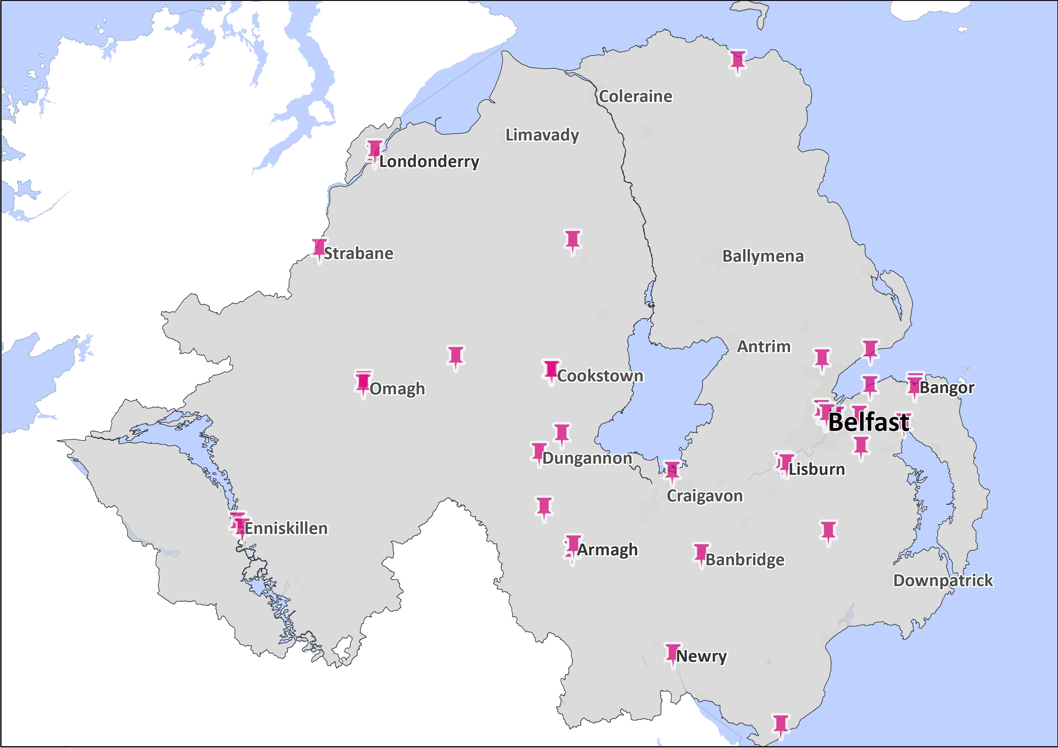 Map of Northern Ireland with pink push pins highlighting towns across the country.