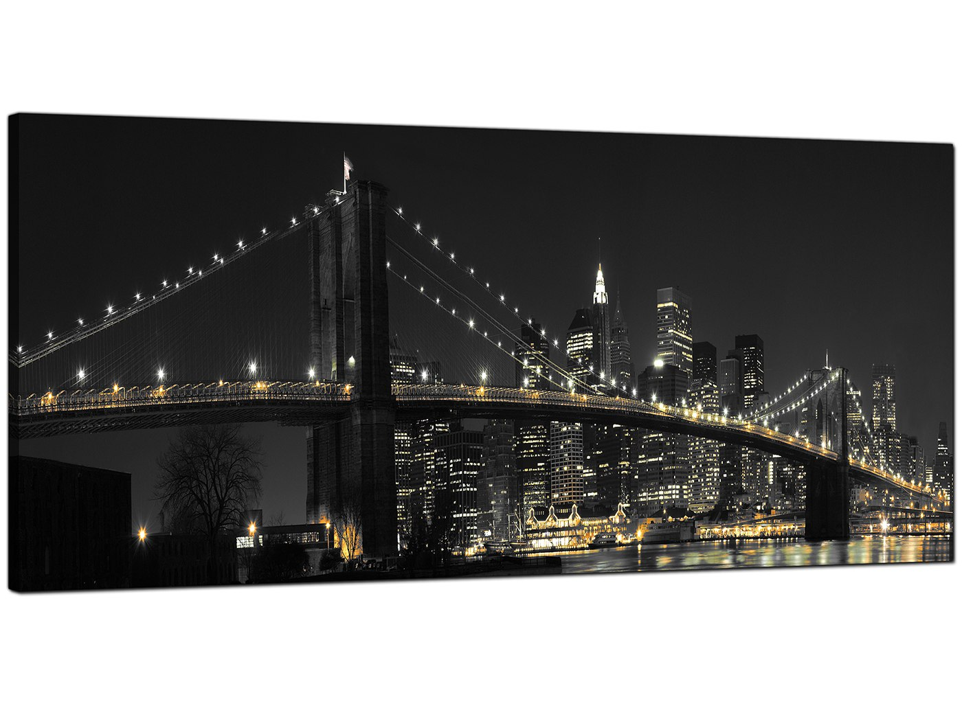 An image of Large Black White NYC Brooklyn Bridge Cityscape Modern Canvas Art - 120cm - 1075