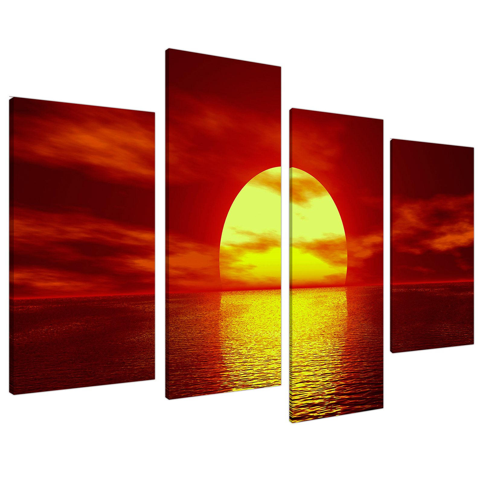 An image of Red Yellow Sunset Ocean Sky Landscape Canvas - Multi 4 Part - 130cm - 4001