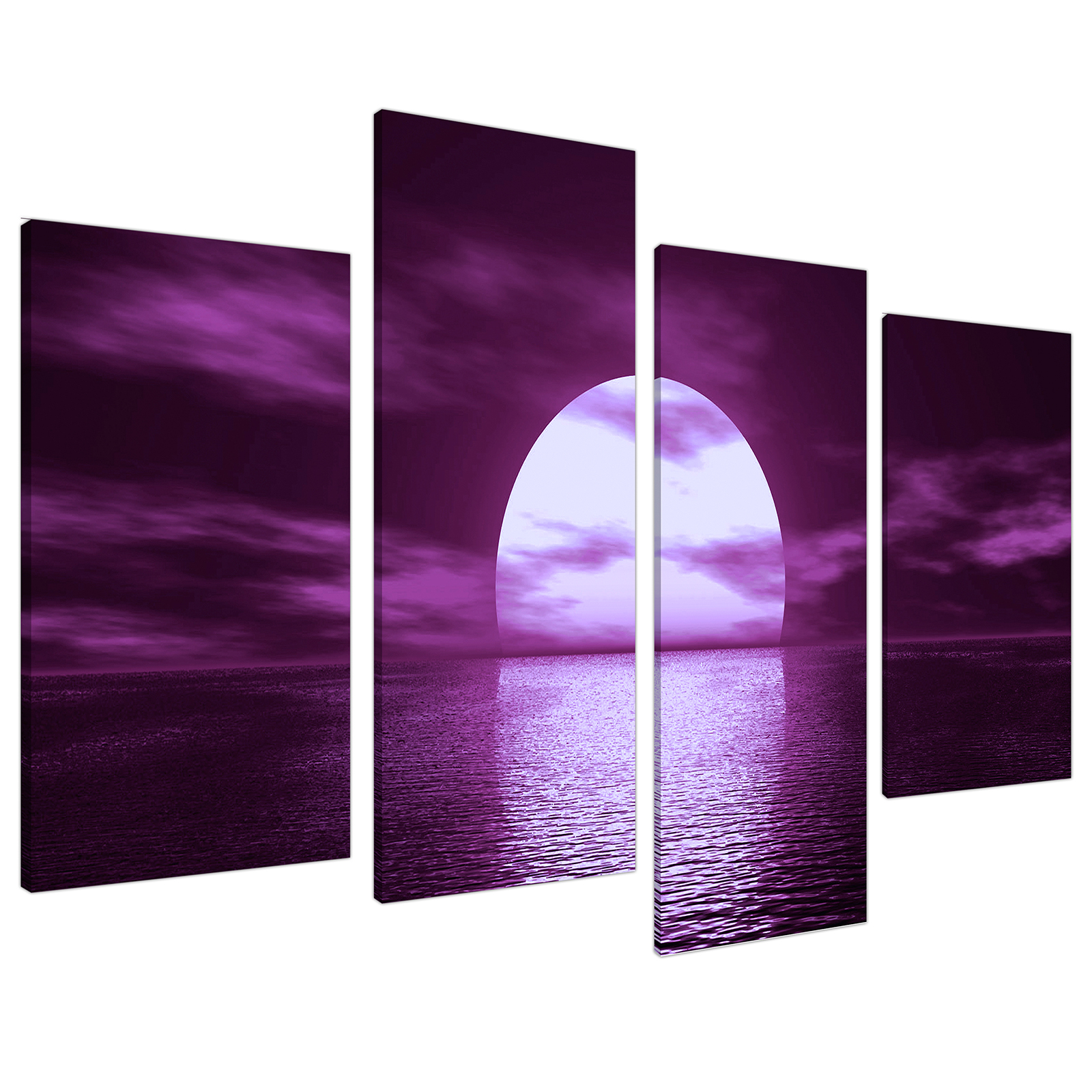 An image of Purple Sunset Ocean Sky Landscape Canvas - Multi 4 Piece - 130cm - 4002