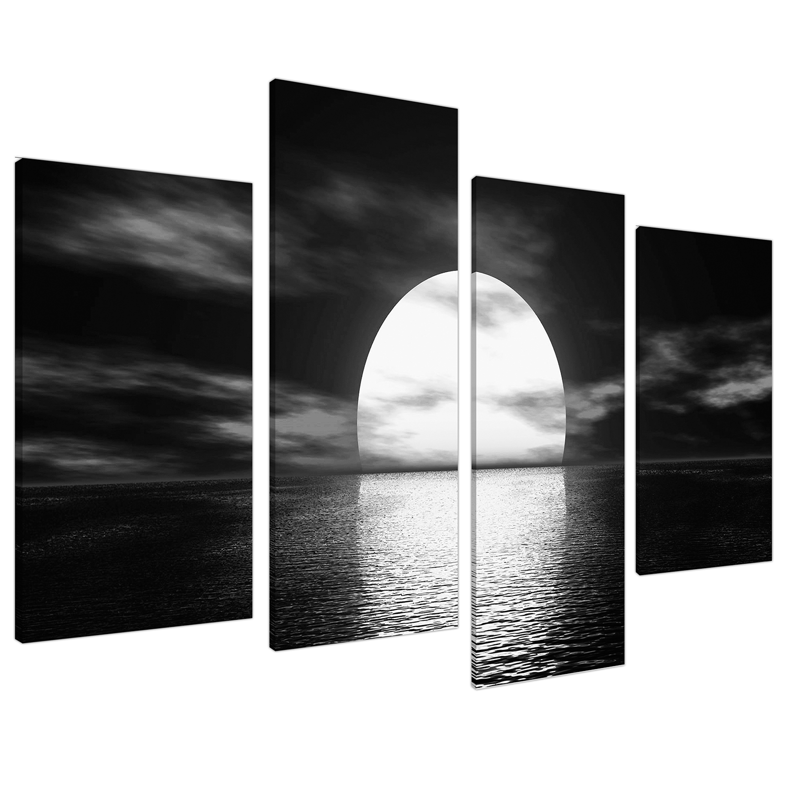 An image of Black White Sea Sunset Ocean Landscape Canvas - Multi Set of 4 - 130cm - 4003