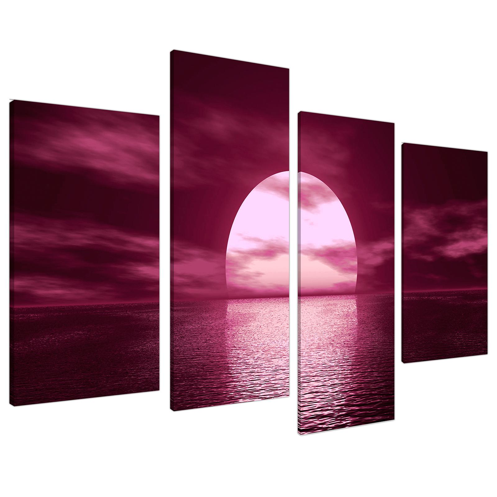 An image of Plum Coloured Sunset Sea Landscape Canvas - Multi Set of 4 - 130cm - 4004
