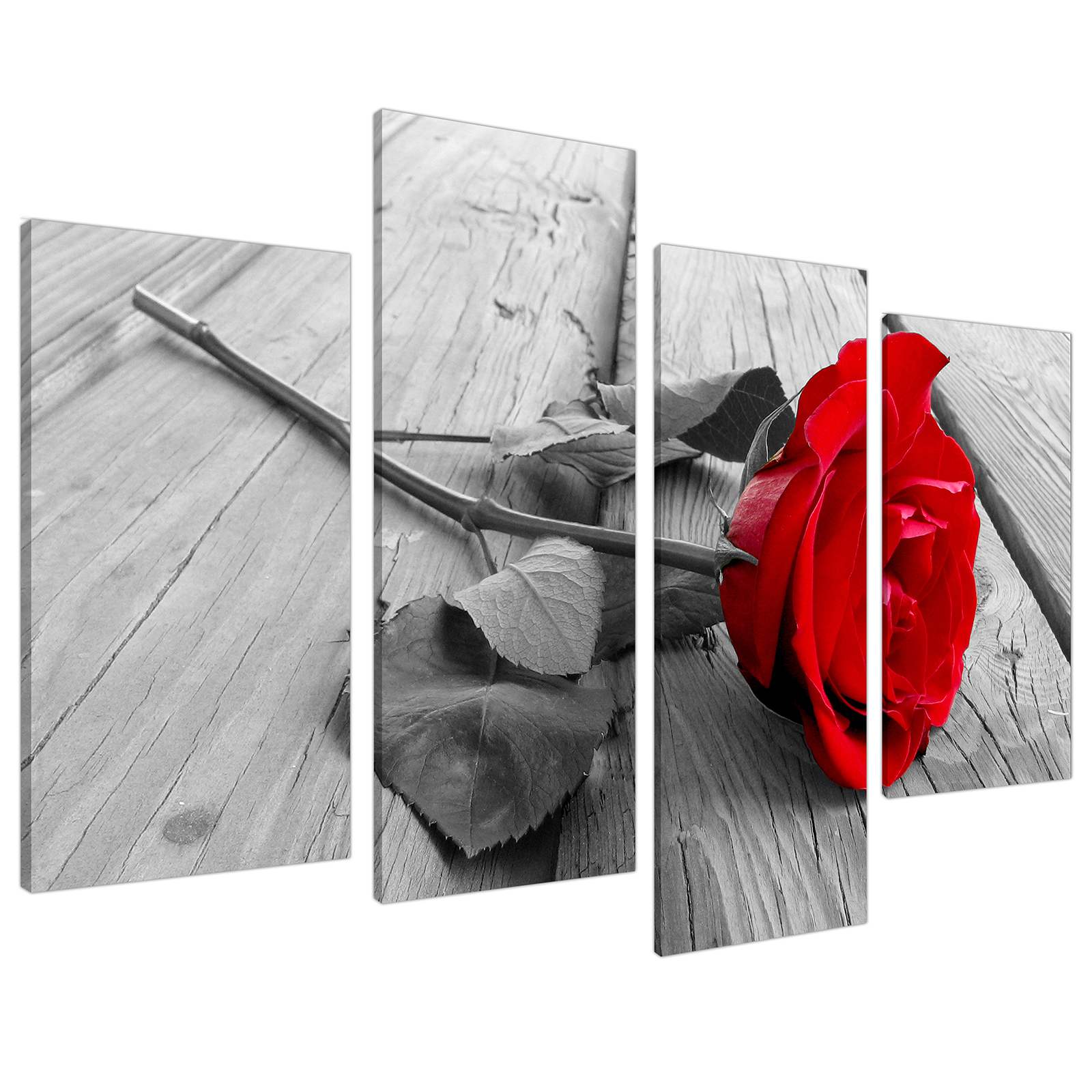 An image of Red Rose Grey Black White Flower Floral Canvas - Split 4 Part - 130cm - 4005