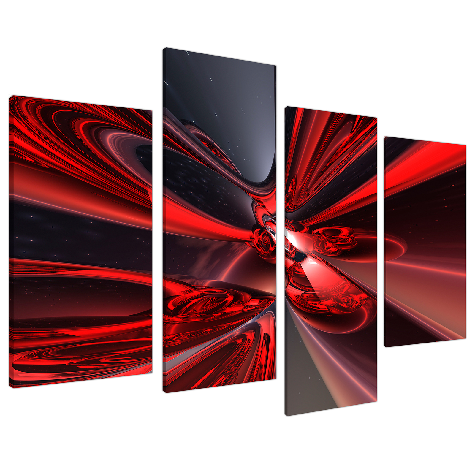 An image of Red Black Modern Contemporary Abstract Canvas - Multi 4 Part - 130cm - 4006