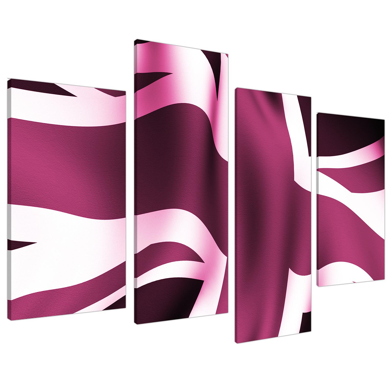 An image of Plum Purple Union Jack Flag Abstract Canvas - Split 4 Part - 130cm - 4009