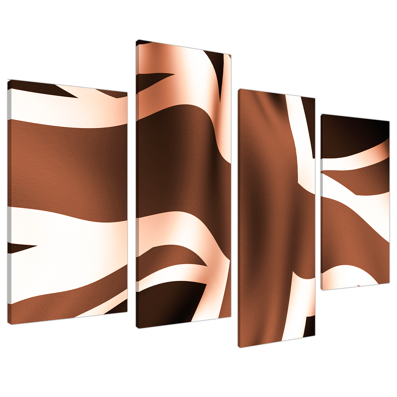An image of Brown and Cream Union Jack Flag Abstract Canvas - Split 4 Set - 130cm - 4011