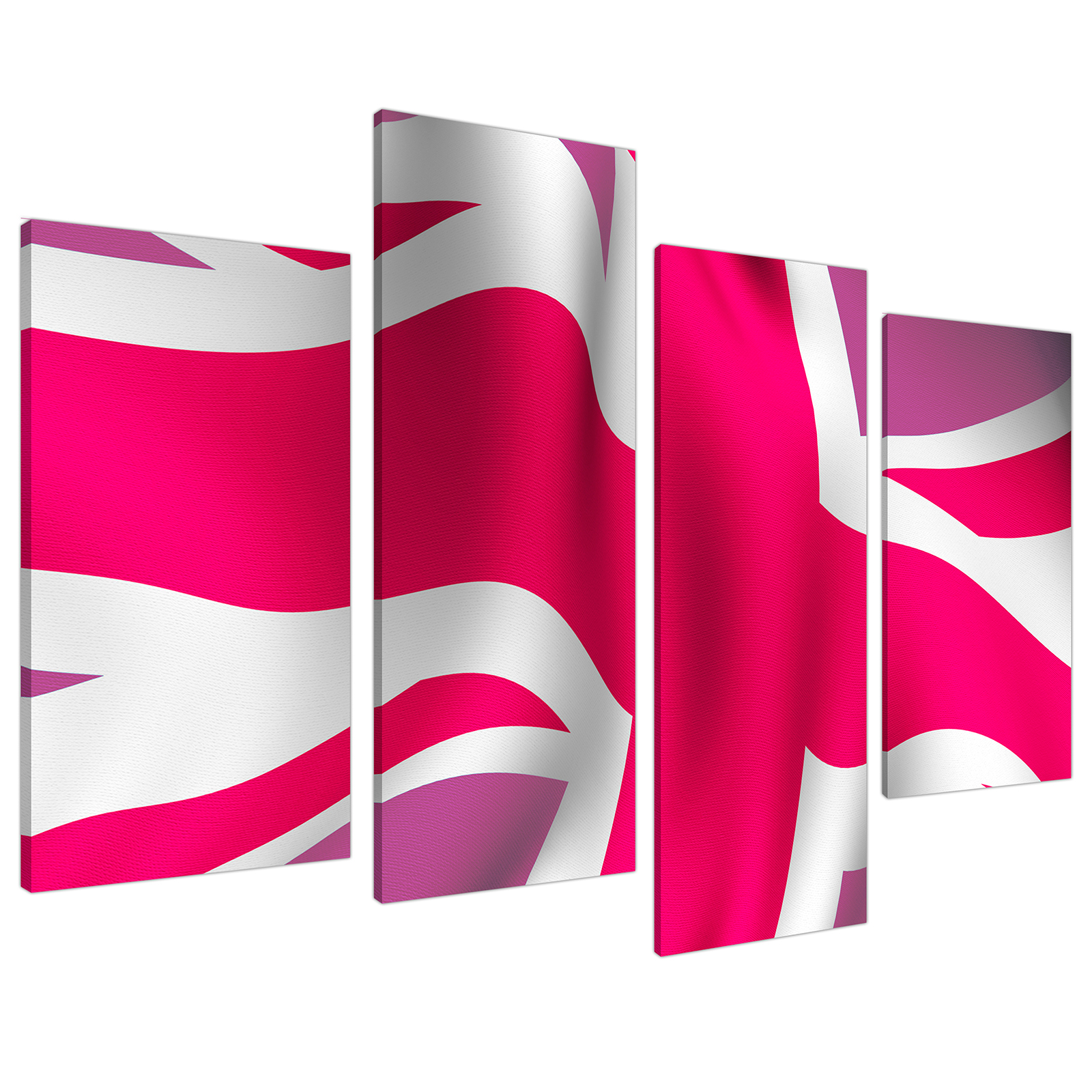 An image of Pink White Union Jack Flag Abstract Canvas - Multi 4 Set - 130cm - 4012