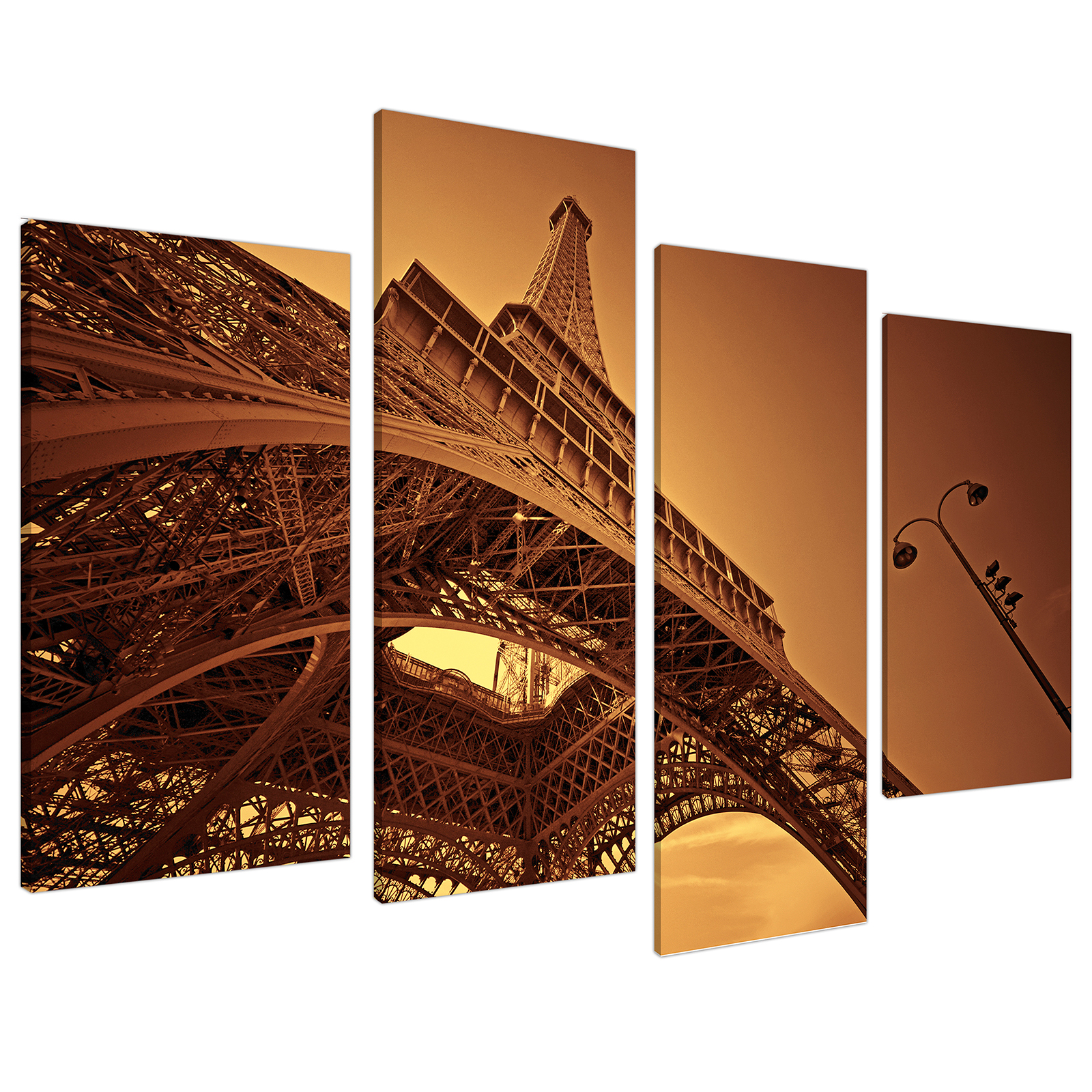 An image of Brown and Cream Eiffel Tower Paris City Canvas - Multi 4 Part - 130cm - 4013