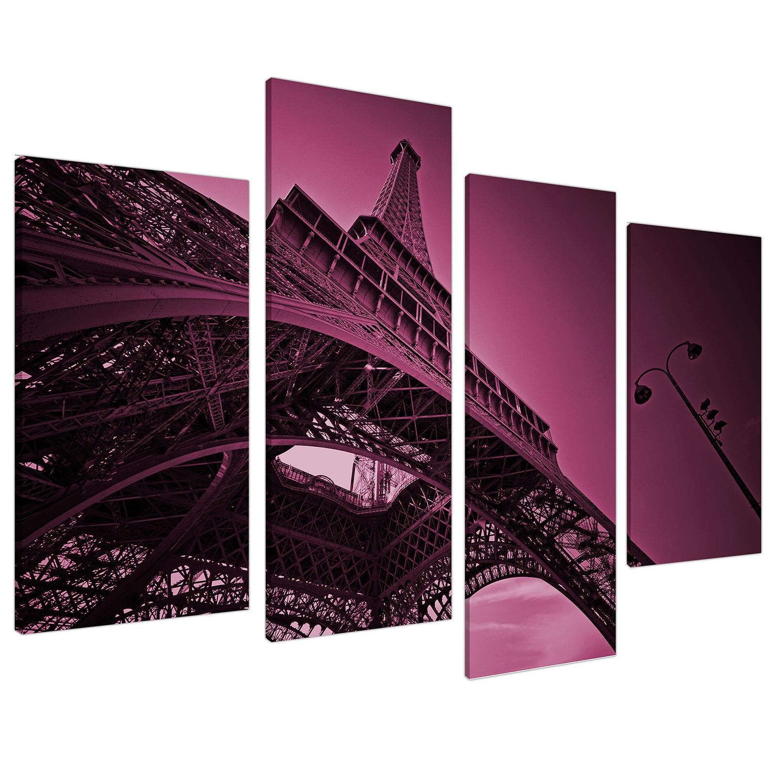 An image of Purple Eiffel Tower Scene Paris City Canvas - Multi 4 Piece - 130cm - 4015
