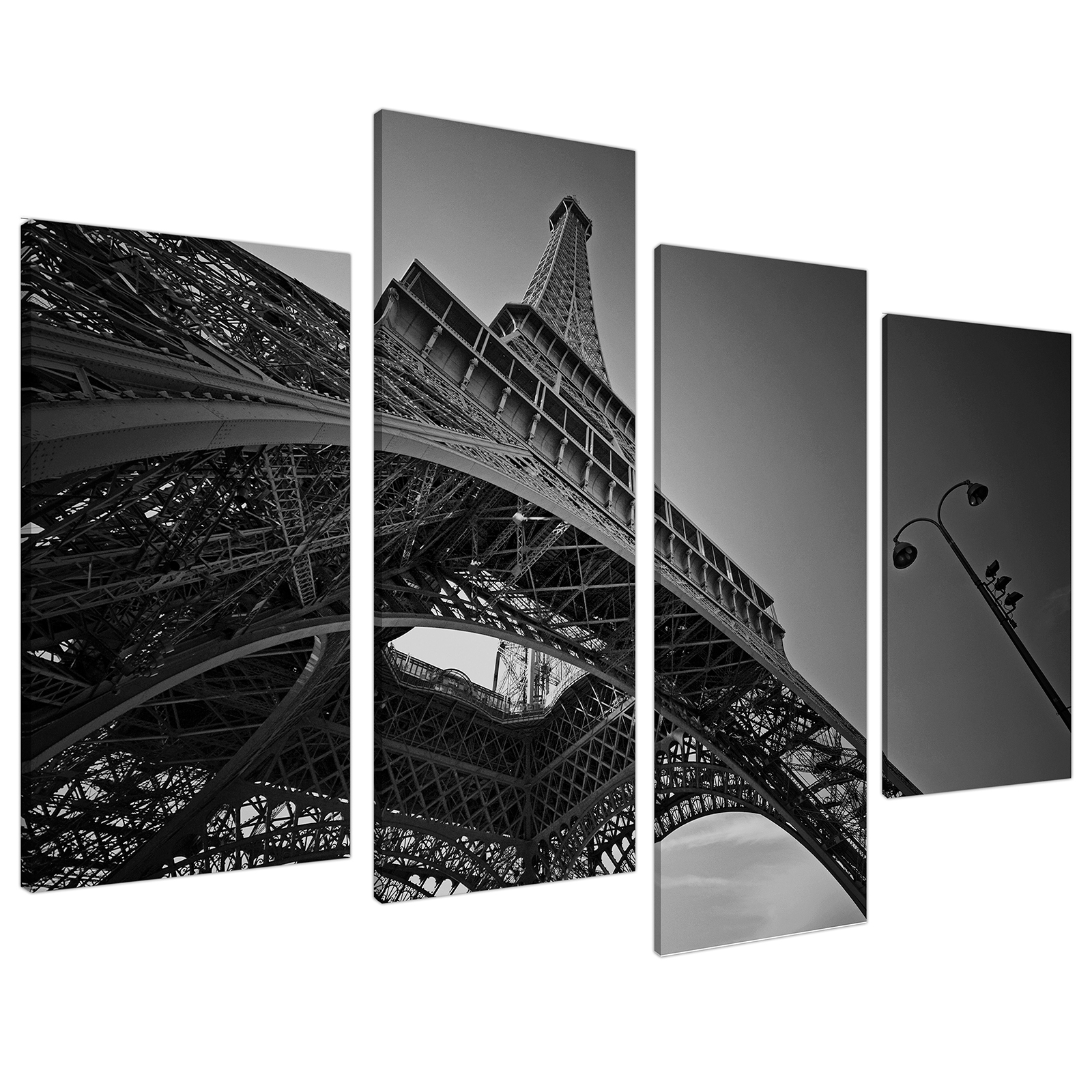 An image of Black White Eiffel Tower Paris City Canvas - Multi 4 Piece - 130cm - 4016