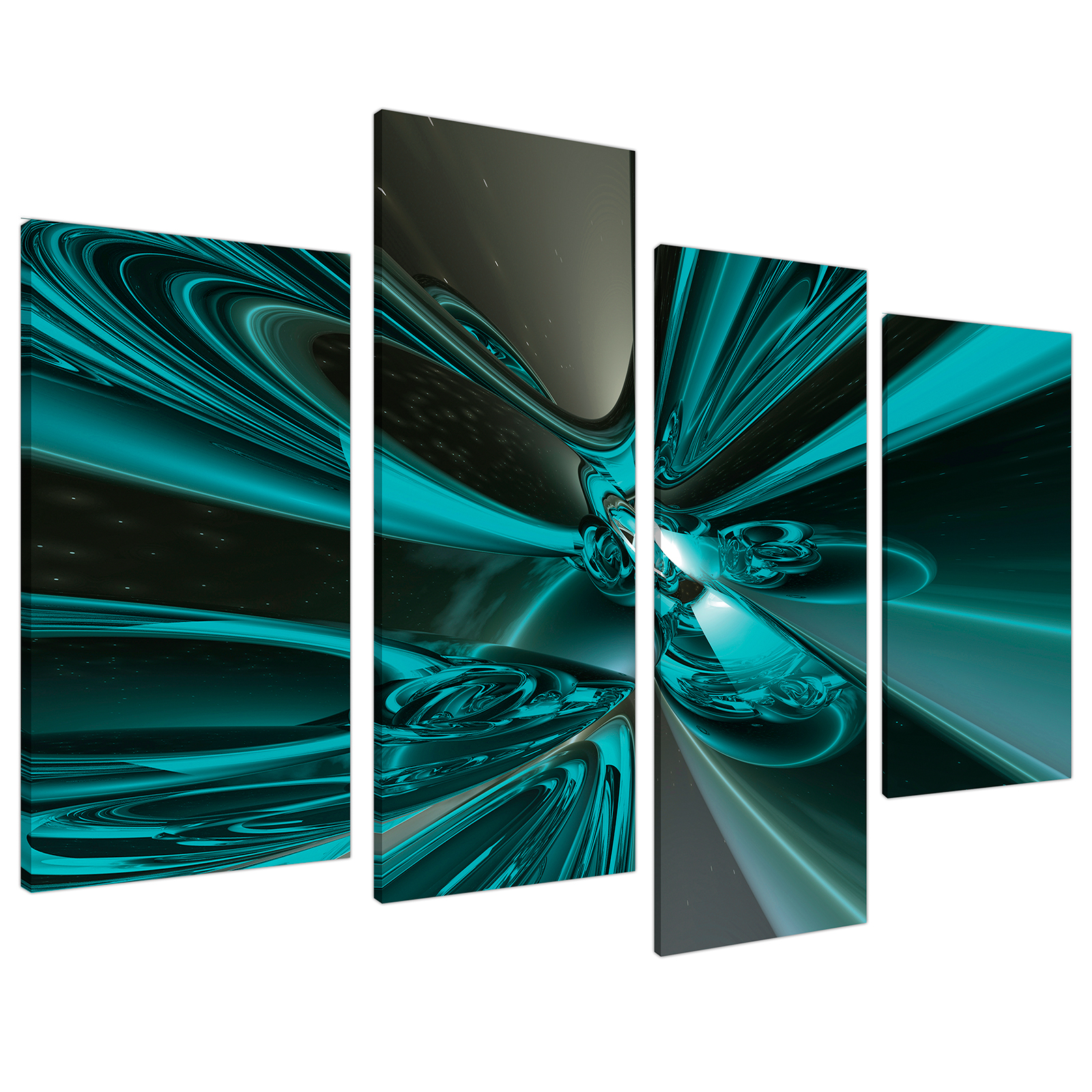 An image of Teal and Grey Cyclone Abstract Canvas - Multi 4 Part - 130cm - 4017