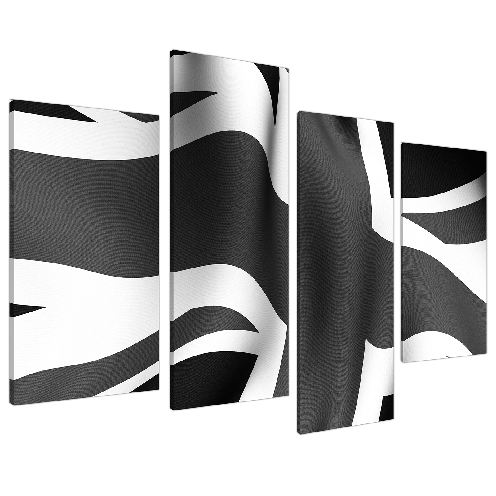 An image of Black White Grey Union Jack Flag Abstract Canvas - Multi 4 Panel - 130cm - 4019
