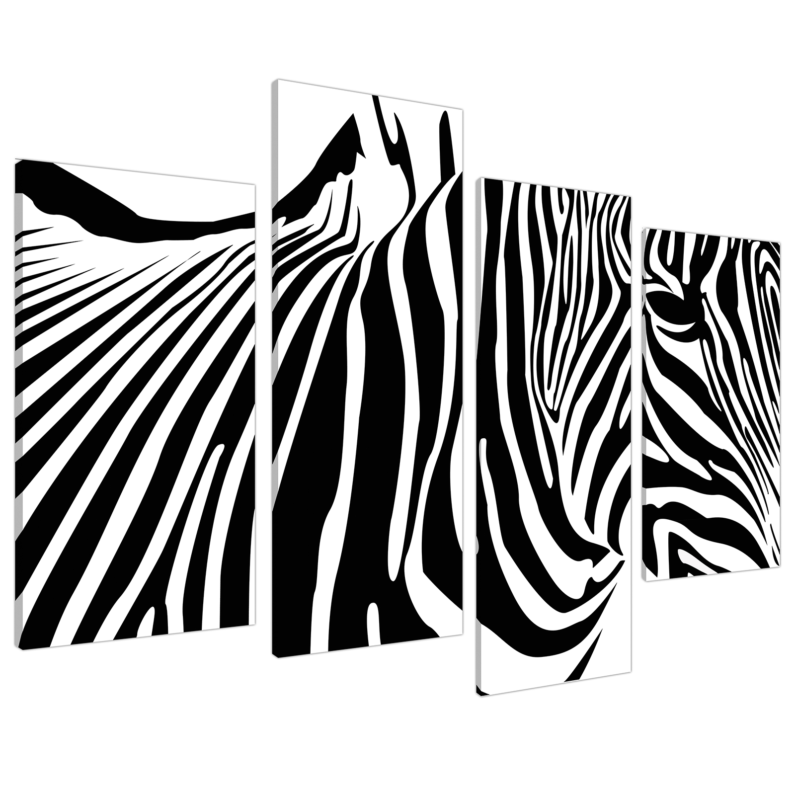 An image of Black White Abstract Zebra Stripes Canvas - Multi 4 Panel - 130cm - 4022