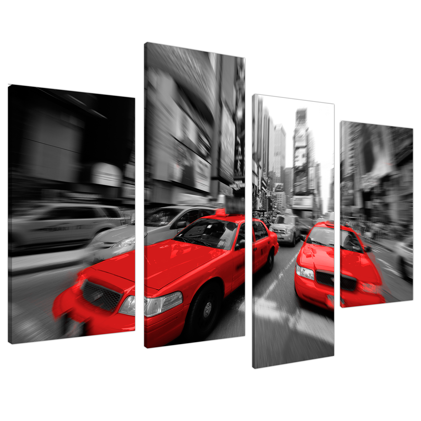 An image of Red Black White Grey New York Taxi Cab City Canvas - Split 4 Part - 130cm - 4025