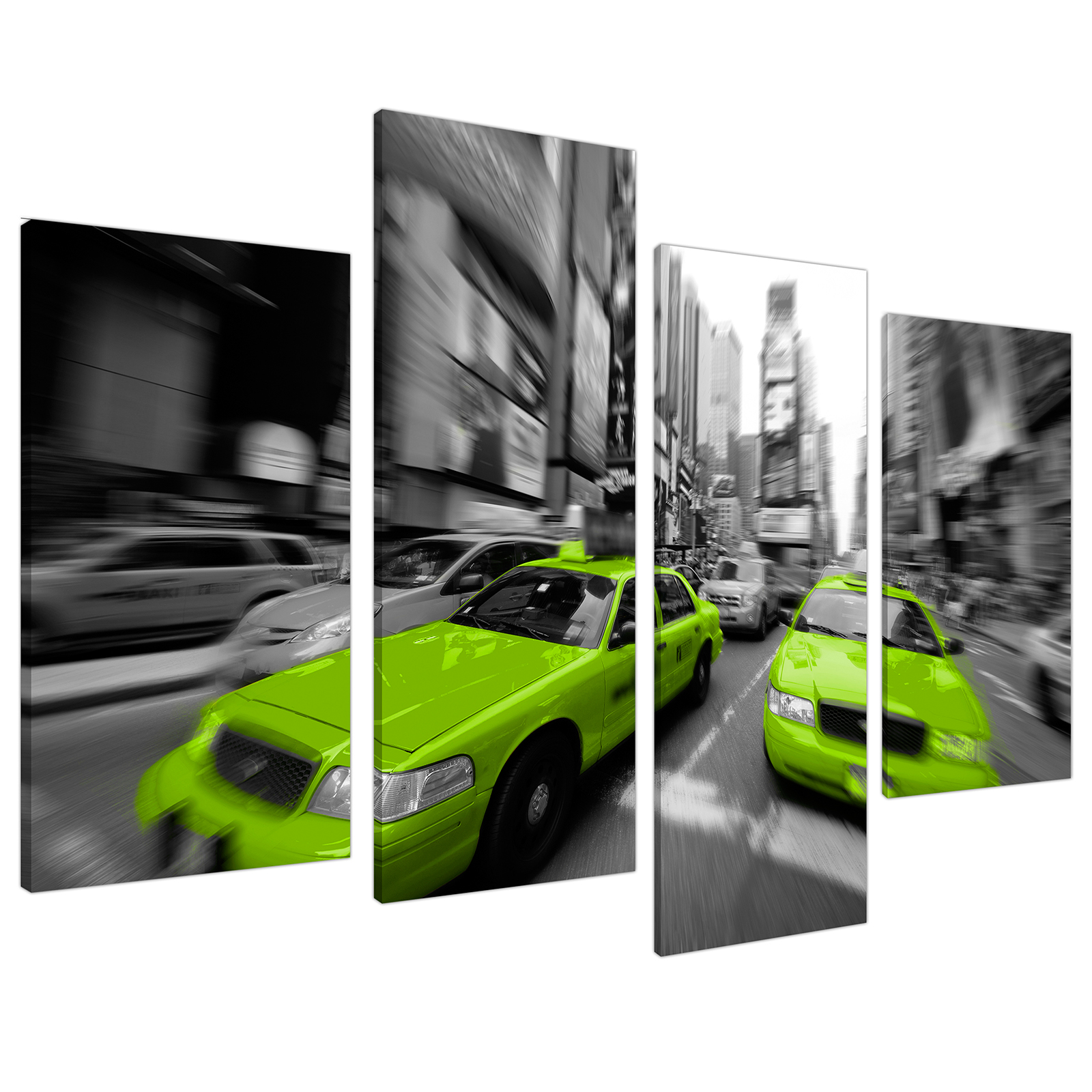 An image of Lime Green Grey New York Taxi Cab Cityscape Canvas - Split 4 Set - 130cm - 4027
