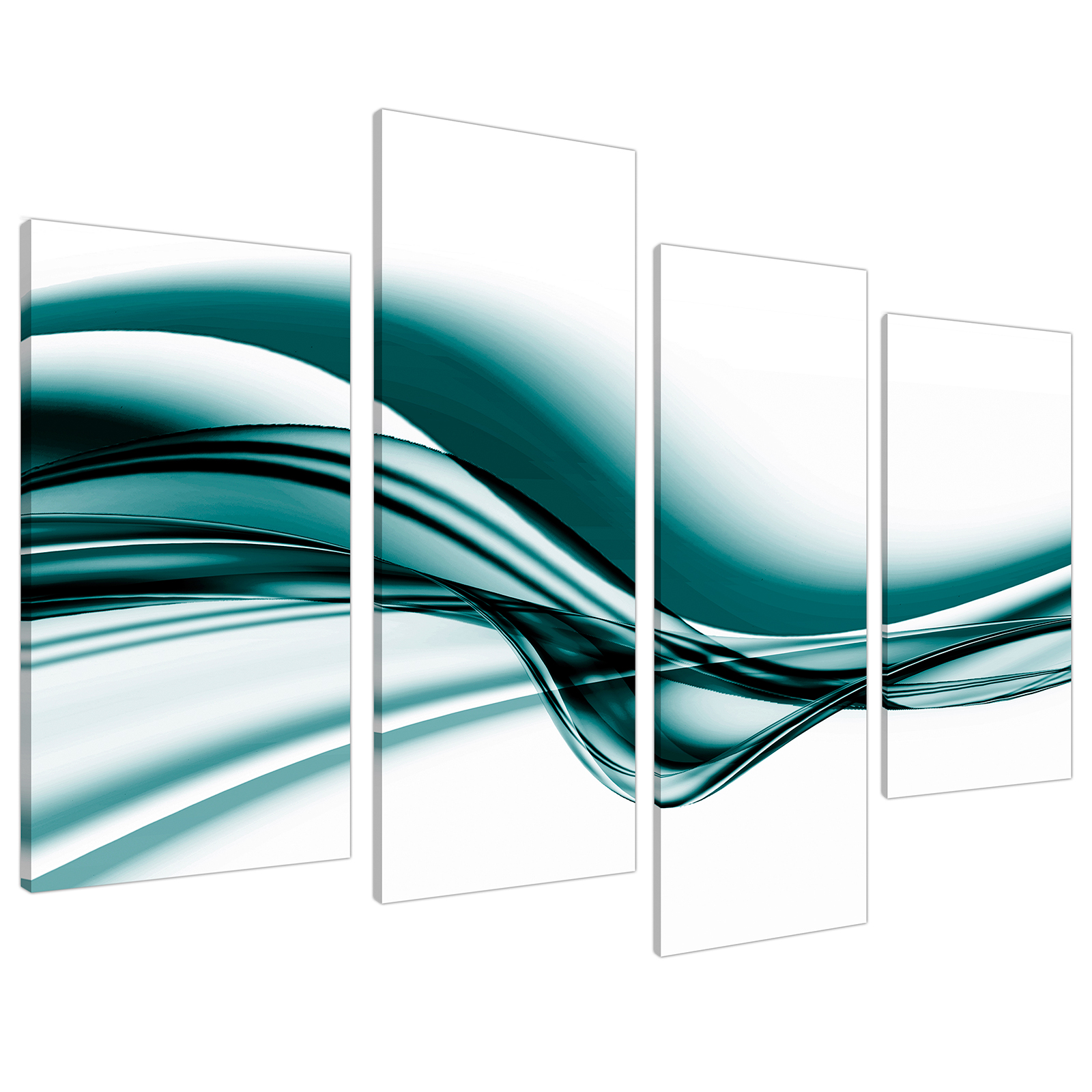 An image of Teal Coloured White Modern Wave Abstract Canvas - Multi 4 Piece - 130cm - 4033