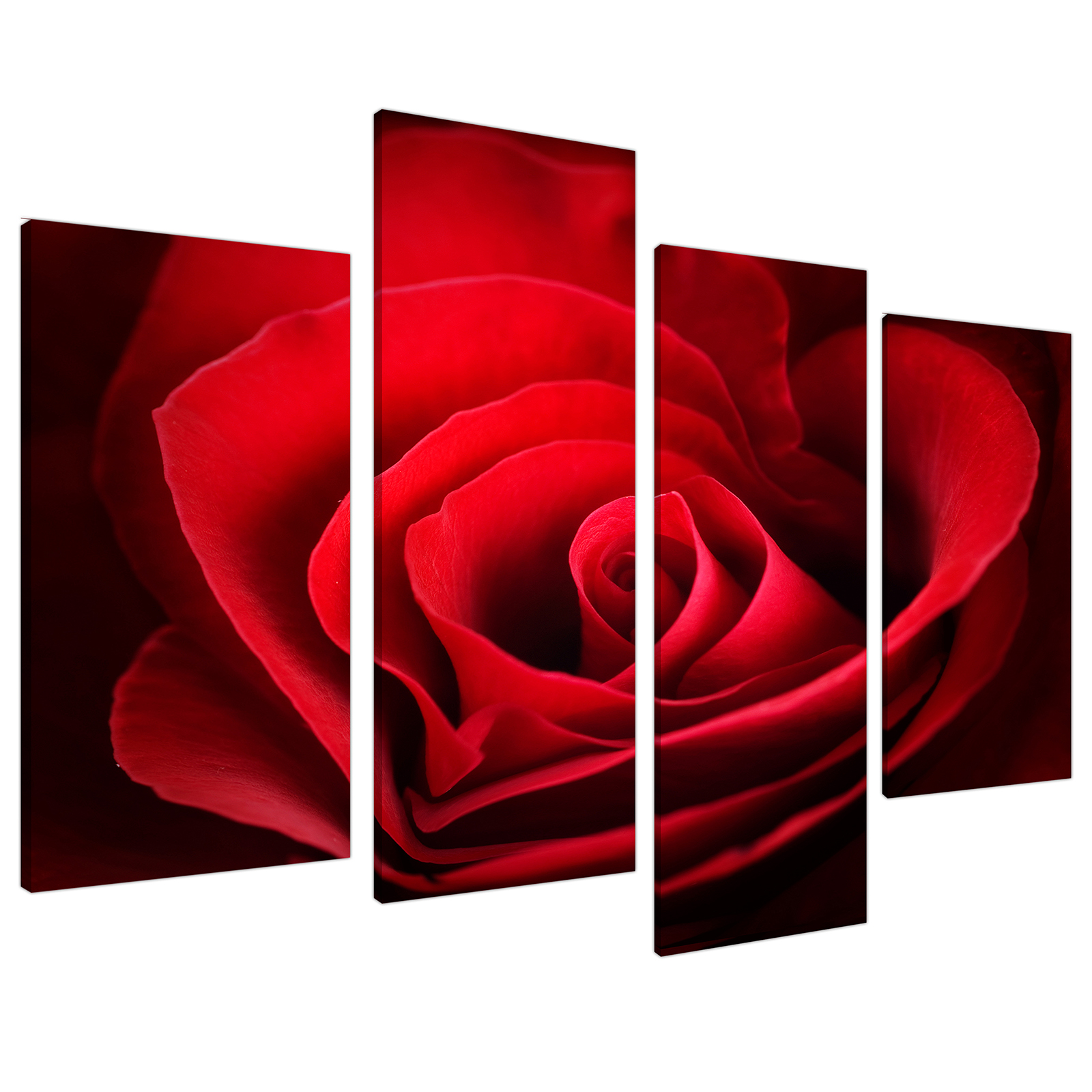 An image of Red Rose Heart Petals Flower Floral Canvas - Split 4 Part - 130cm - 4044
