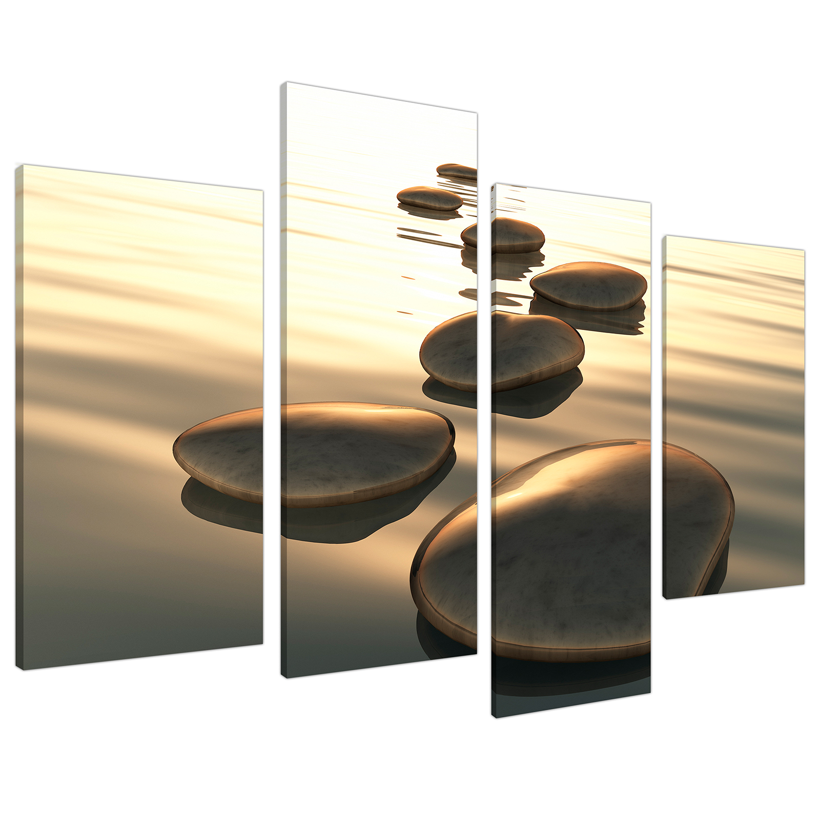 An image of Brown Zen Stepping Stones Lake Landscape Canvas - Multi 4 Piece - 130cm - 4046