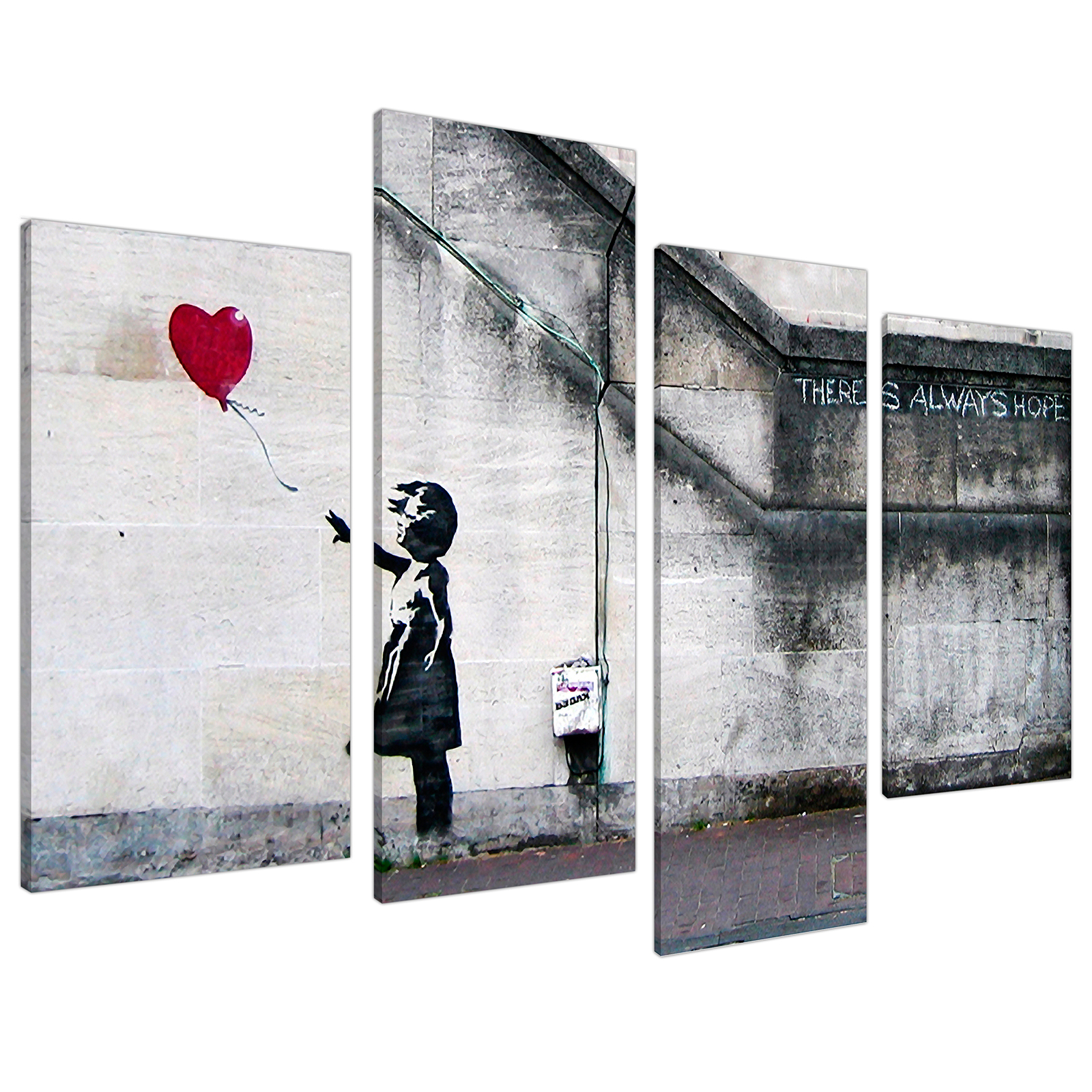 An image of Banksy Balloon Girl Red Heart Hope Canvas - Multi 4 Piece - 130cm - 4050