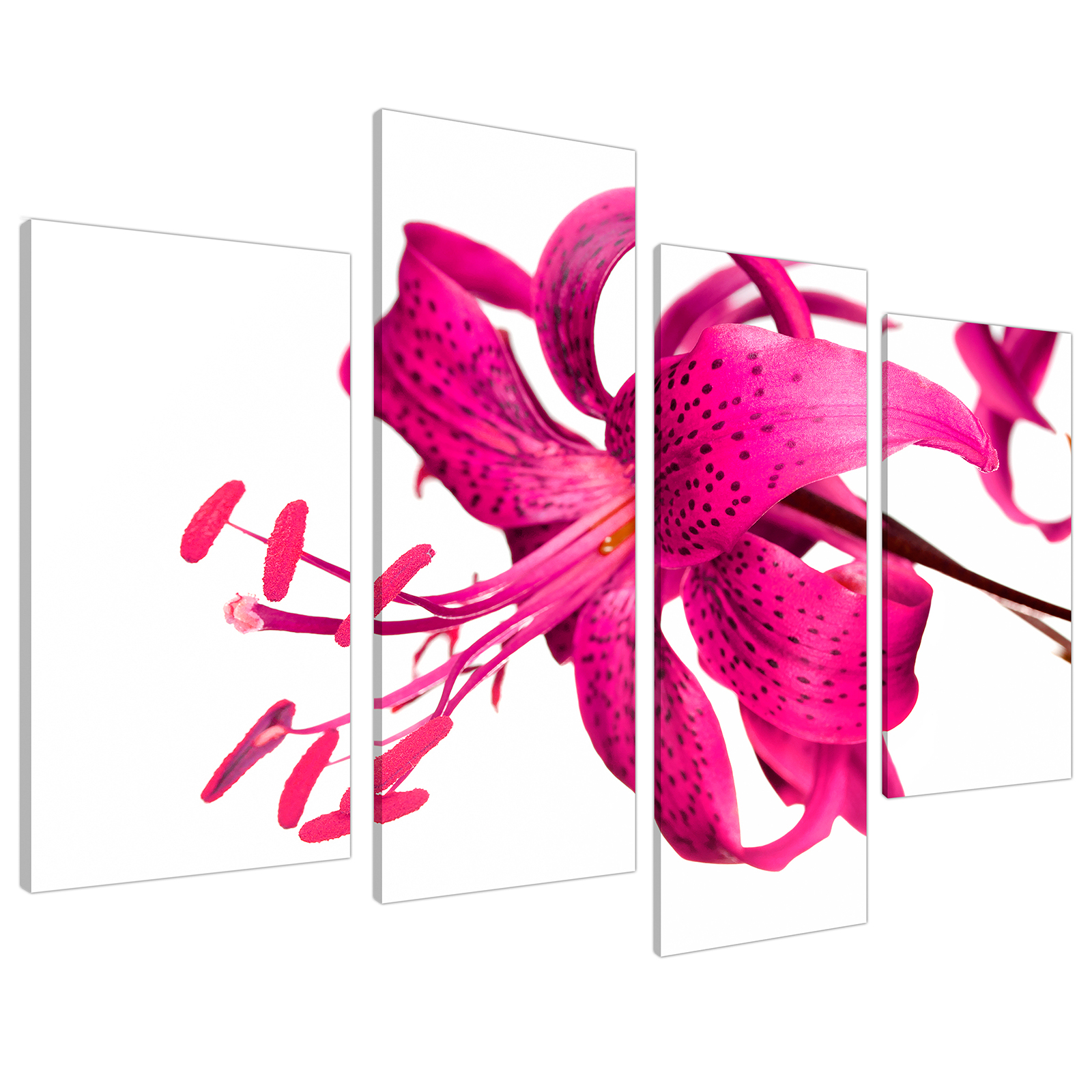 An image of Pink Tiger Lily Flower on White Floral Canvas - Multi 4 Set - 130cm - 4053