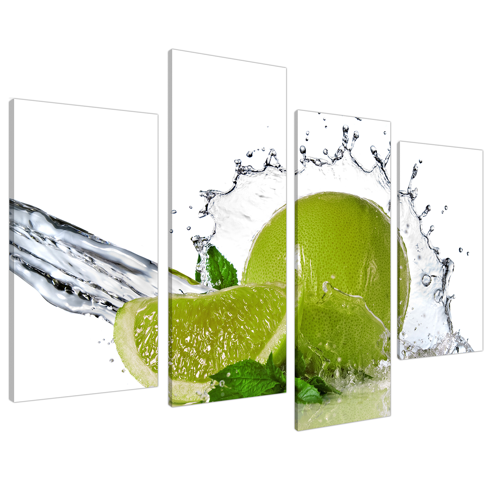 An image of Lime Green White Fruit Splash Kitchen Canvas - Split 4 Panel - 130cm - 4057