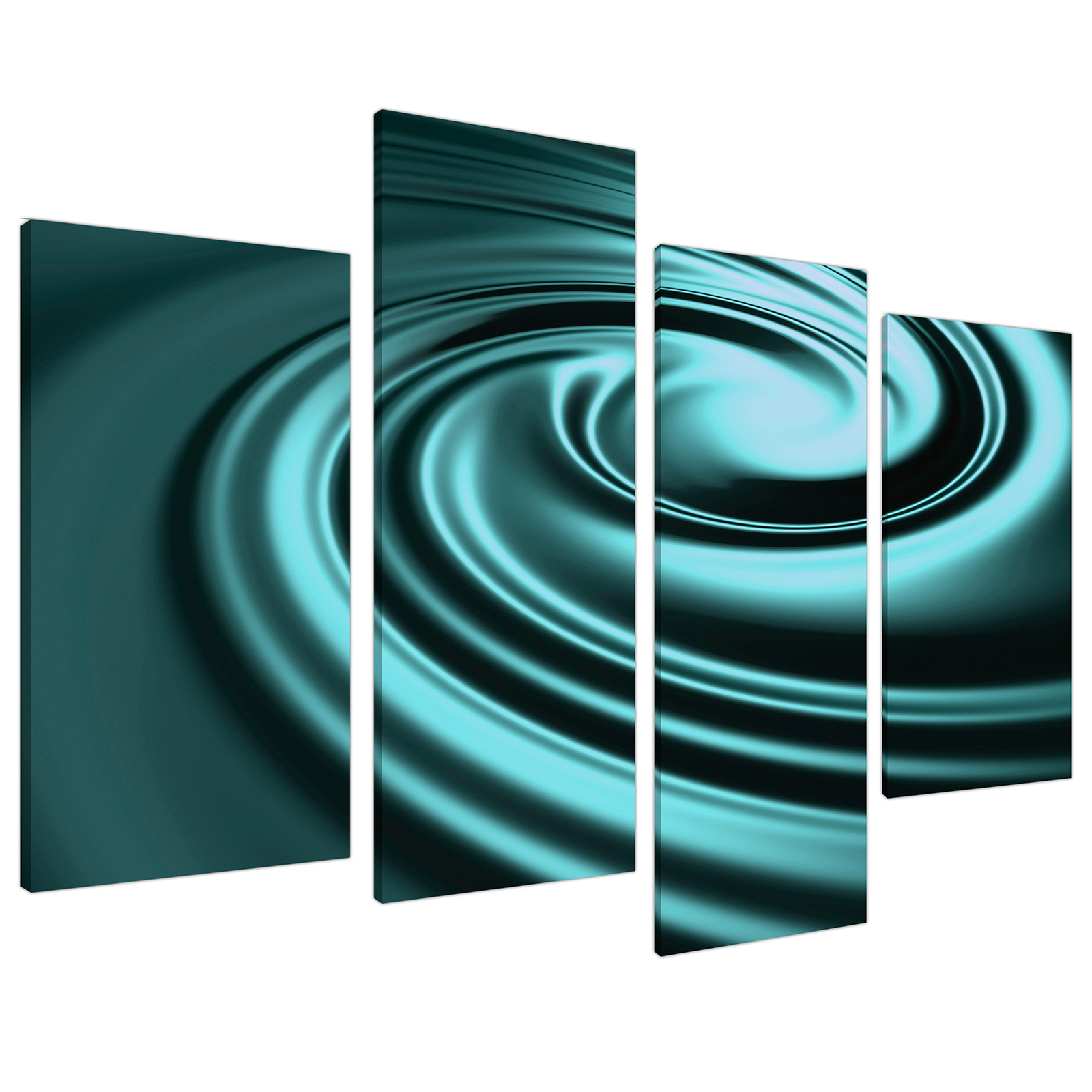 An image of Teal Coloured Swirl Design Abstract Canvas - Multi 4 Part - 130cm - 4060