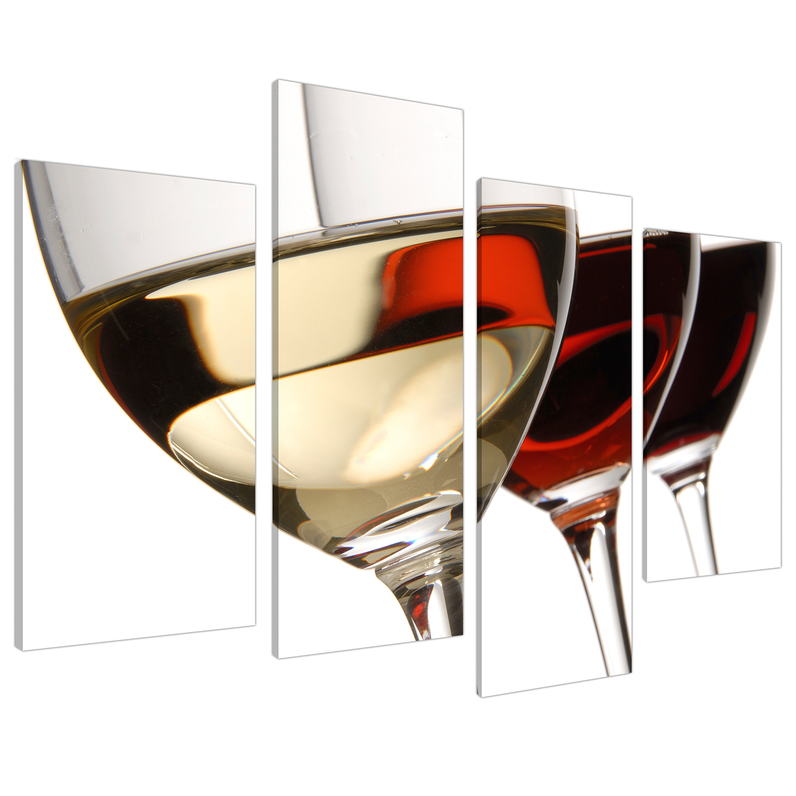 An image of Red White Wine Glasses Kitchen Canvas - Multi 4 Set - 130cm - 4067