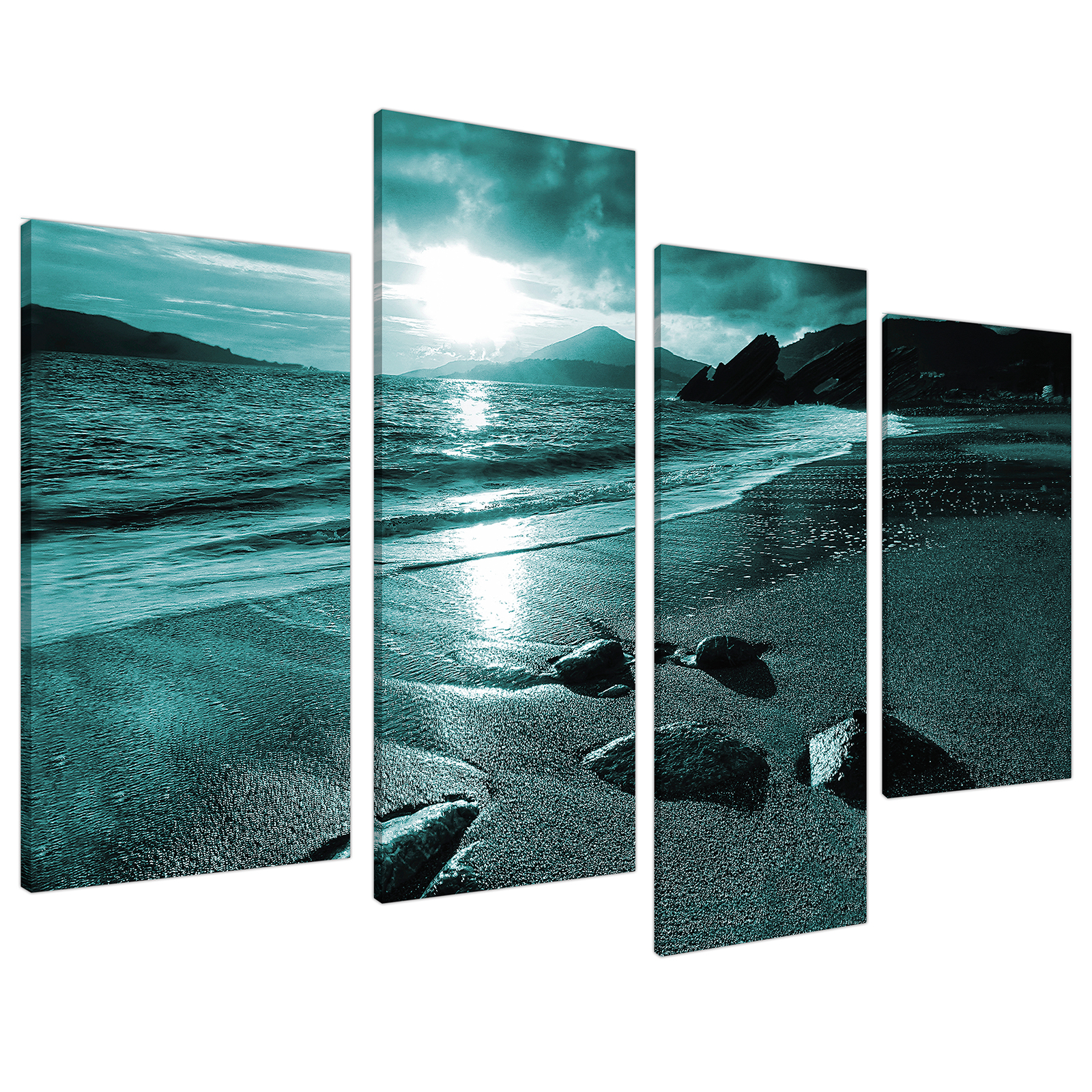 An image of Teal Coloured Sunset Beach Scene Landscape Canvas - Set of 4 - 130cm - 4079