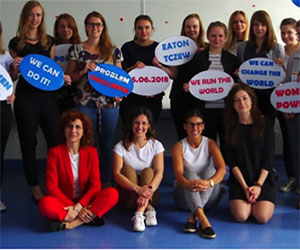 Women at Eaton Poland share stories with female students