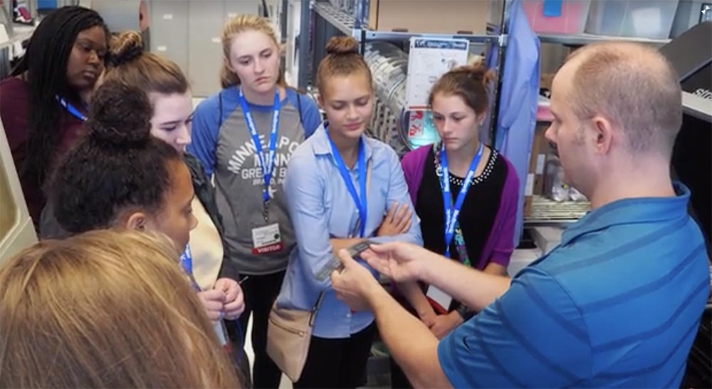 School girls learn about tech careers with Medtronic