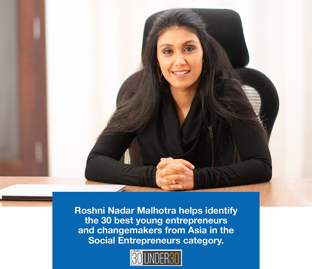HCLs Roshni Nadar Malhotra helps judge Forbes 30 Under 30
