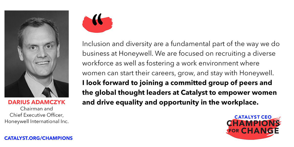 Honeywell CEO signs Catalyst pledge for womens progress