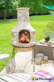 Spanish Scroll Clay Chimenea L W/Grill - 67016