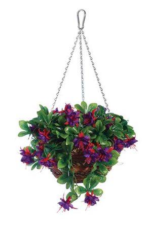 """Gardman 12"""" Fushia Artificial Hanging Basket 02842"""