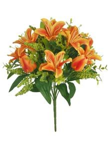Lotus Silk Lily  Tulip Bunch Orange 350033