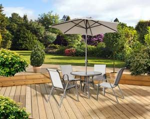 Pagoda Rhodes 4 Seat Dining Set (Table, 4 Stacking Chairs, Parasol) 362901